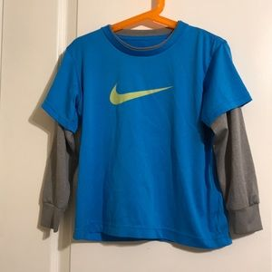 Nike dri-fit LS boys blue gray top 5T